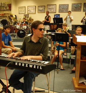 Conrad Oberg Performing with band for Blues in the Schools