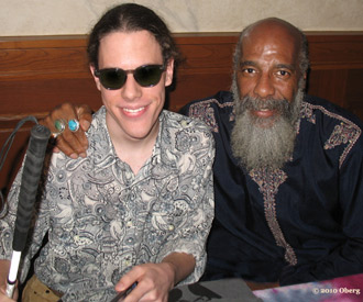 Conrad Oberg and Richie Havens before Conrad's performance at the 40th Anniversary of Woodstock